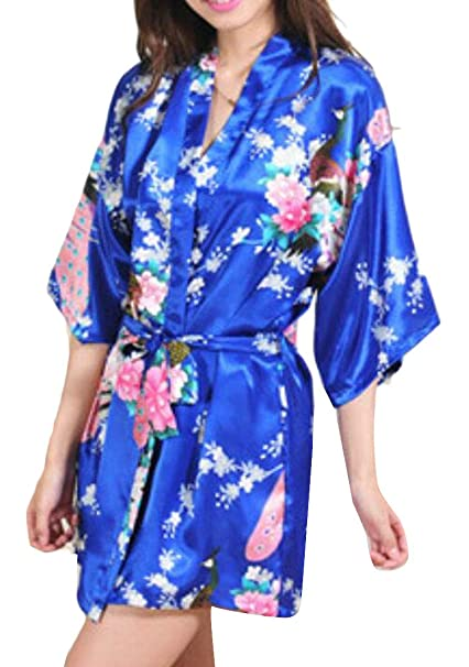 194712db58 S-Fly Women s Plus Size Floral Print Wrap Front Satin Kimono Bridesmaids  Robes at Amazon Women s Clothing store