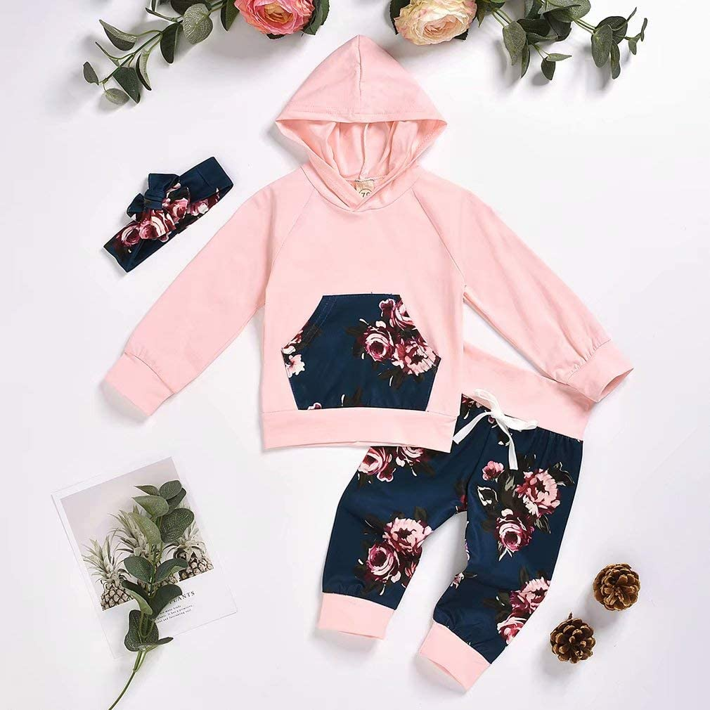 DaceStar Neugeborenes Baby M/ädchen Sweatshirt M/ädchen Langarm Floral Hoodie Tops and Hosen 3 St/ück Outfits Kleidung Set f/ür 0-24 Monate
