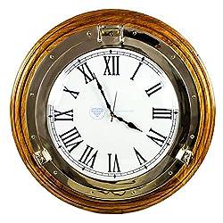 Premium Nautical Porthole Brass Time's Clock On Solid Wood Base | Wall Decor | Pirates Maritime Gift | Nagina International (24 Inches)