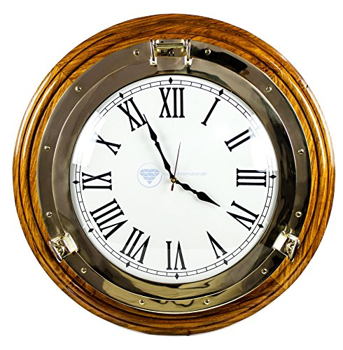 18'' Premium Nautical Polished Brass Porthole Time's Clock On Solid Rosewood Base | Luxurious Ornamental Wall Decor | Pirates Maritime Gift | Nagina International by Nagina International