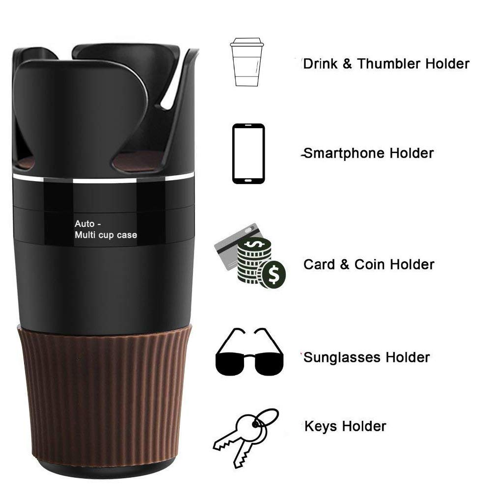 Multi-Functional 5 in 1 Drink Holders 360/°Rotatable Vehicle Cup Holder Organizer for Sunglasses Drink Phone Holder and Items Storage-Black Big Ant Car Cup Holder