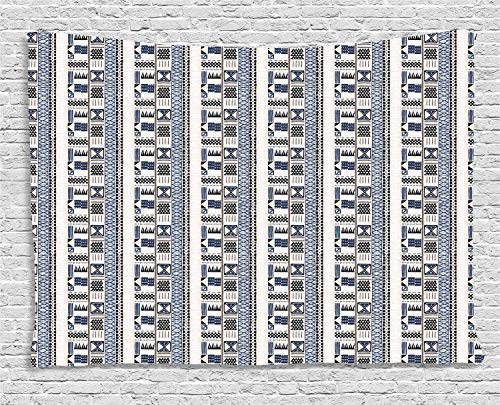 YouXianHome Folk Tapestry Abstract, Tribal Ornamental Traditional Shapes, Dorm Decor for Living Room Bedroom, 90 W x 60 L Inches, Pale Eggshell Night Blue Dark Violet Blue Pale Mau]()