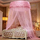 Lustar Mosquito Net Bed Canopy Children Fly Insect Protection Indoor Decorative Height 280cm Top Diameter 1.2m,Pink