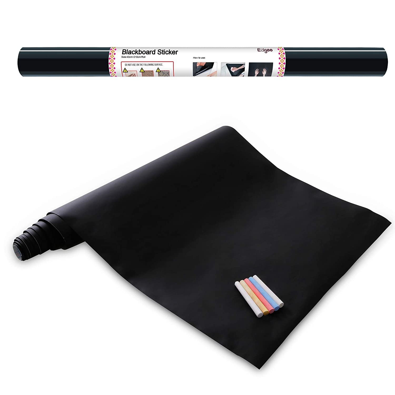 Vinilo Pizarra Negra- Pizarra Adhesiva de Papel Adherente - 43cm x 210cm y 5 tizas - Ezigoo