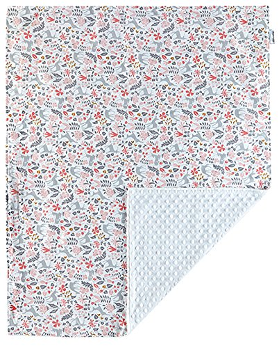 """Super Soft Baby Printed Organic Cotton Mink Nursery Blanket with Dotted Plush Velboa Fabric Backing, Bambi Pink 31"""" x 40"""""""