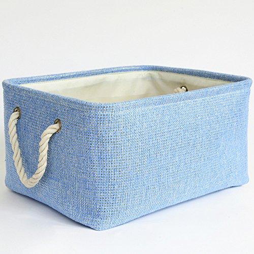 TheWarmHome Blue Basket Rectangular Lined Storage Basket for Baby Toy Basket,Decorative Fabric Bin,Toy Storage Bin,Bedroom Storage,15.7×11.8×8.3inch