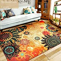 MeMoreCool Boho Area Rugs Retro Floral Home Living Mats Protective Decorative Carpets 1PC 75 X 98 Inch