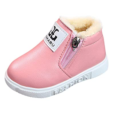 90f8fca81 Muium Toddler Baby Girls Boys Letter Soft Anti-Slip Boots Thick ...