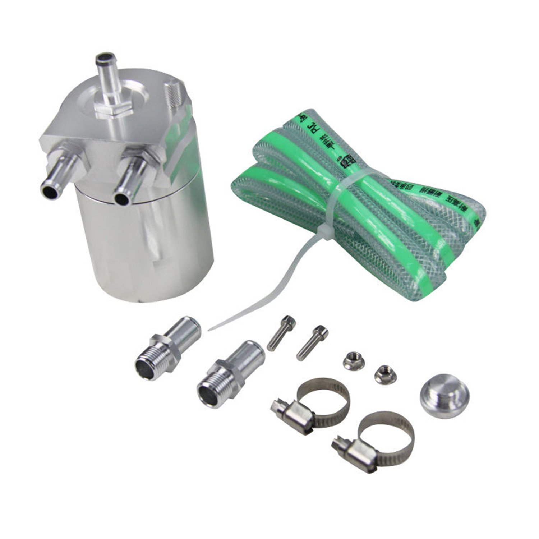 ALLOYWORKS Baffled Billet Aluminum Oil Catch Tank Can Reservoir Tank Universal ( Silver ) by ALLOYWORKS (Image #2)