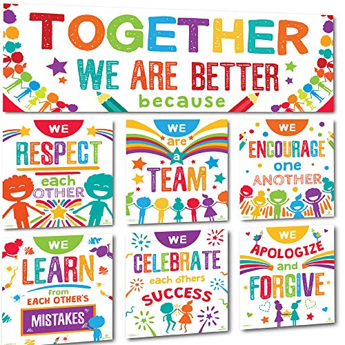 Back To School Bulletin Boards (Sproutbrite Classroom Banner Decorations and Poster Bulletin Board Set - Together We are)