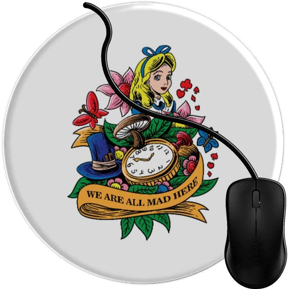 Laser Optical Mouse Compatible Mouse Pad Gaming Alice in Wonderland We are All mad here Non-Slip Rubber Base Premium-Textured Surface Mouse mat 1U500