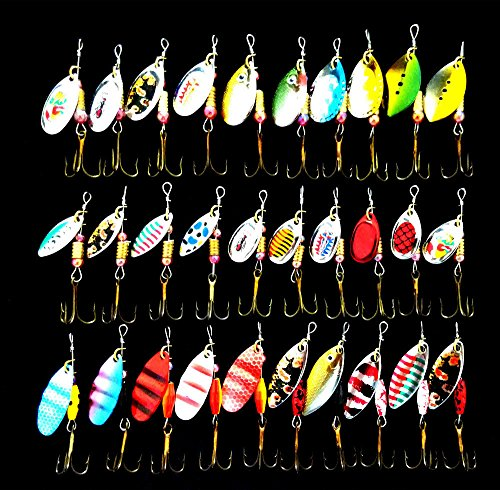Yishaner 30Pcs Assorted Spoon Metal Fishing Lure Spinner Bass Baits Spoon Crankbait Artificial Fish Bass Fishing Tackle