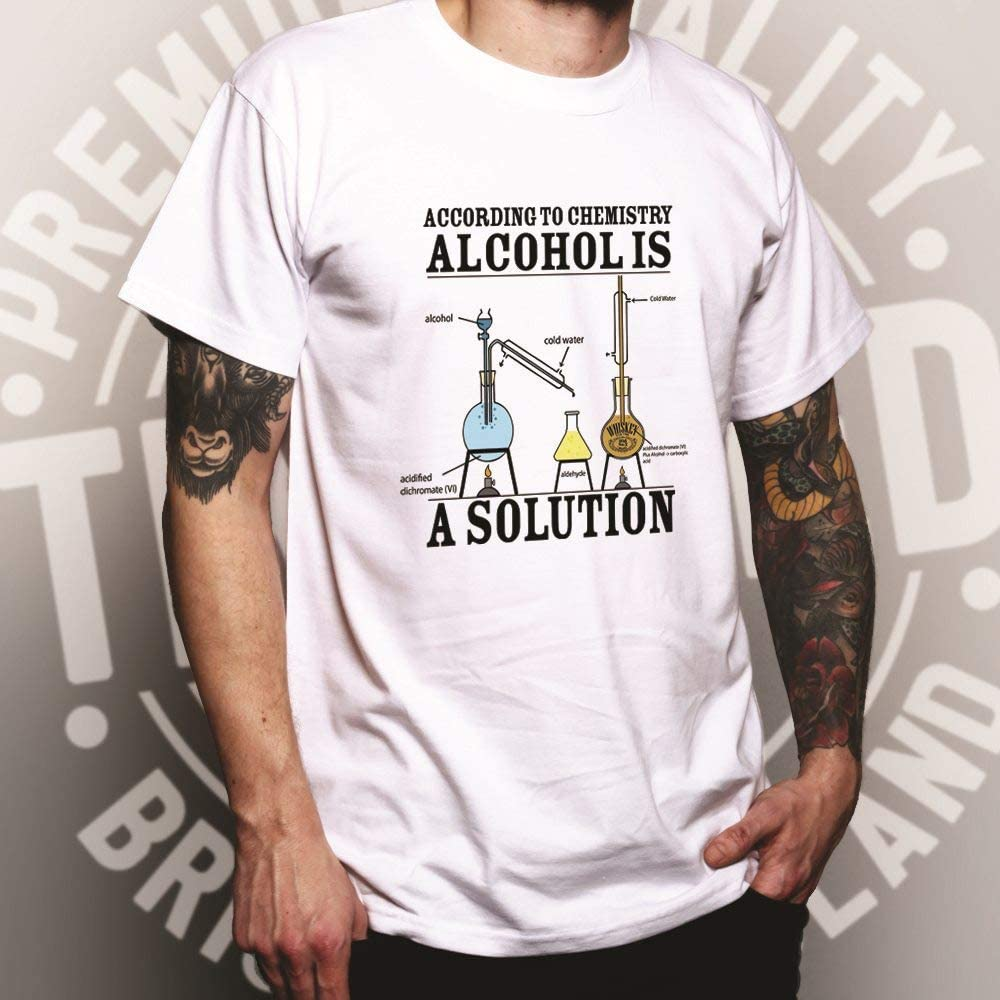 Alcohol is a Solution Printed Design Slogan Art Geeky Nerd Chemisty Science Designer Novelty Print Mens T-Shirt Cool Funny Gift Present Yellow