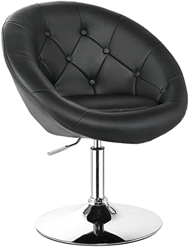 Happygrill Swivel Bar Chair Round Tufted Back Swivel Chair Barstool