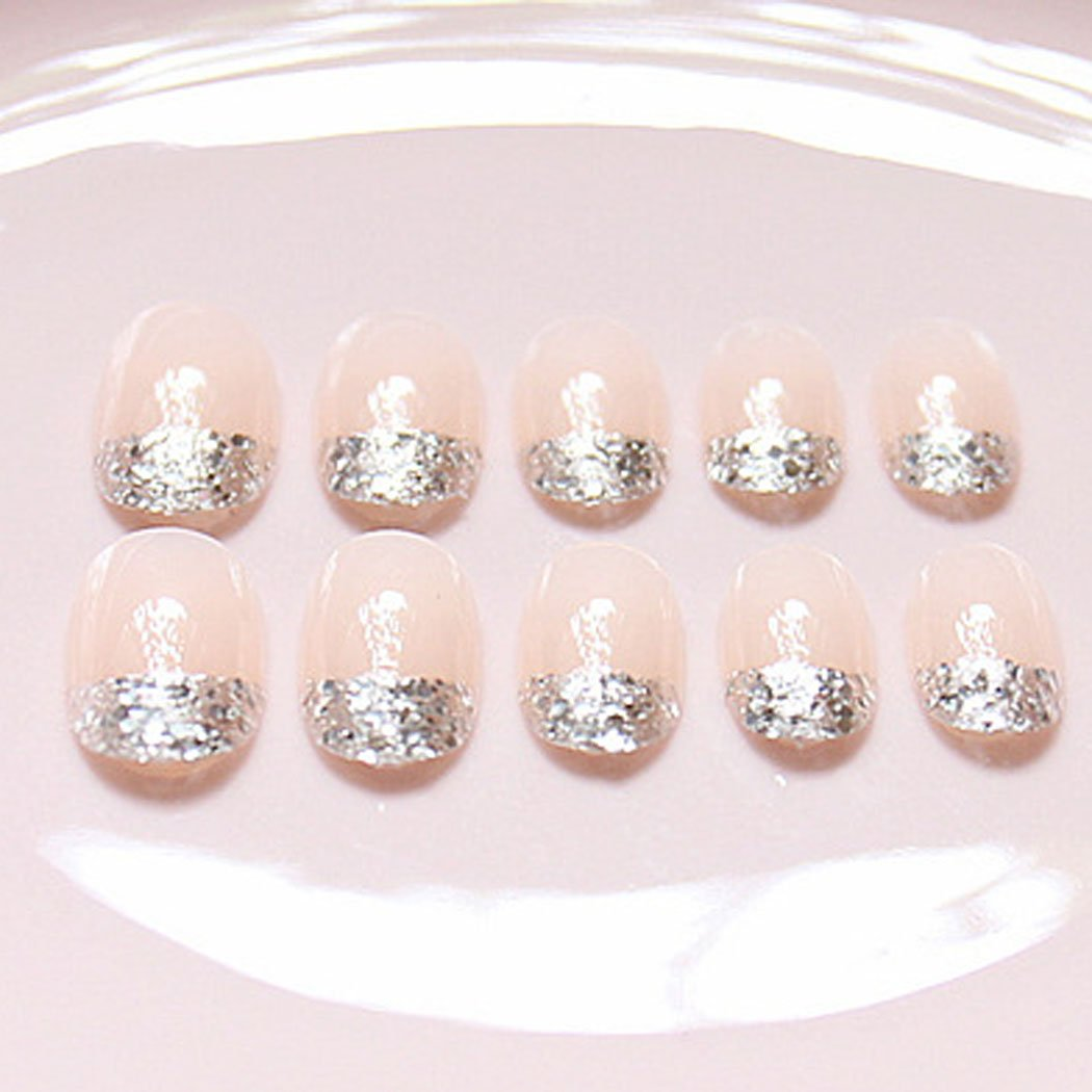 jovono de las mujeres Corto Falso uñas consejos de brillantes uñas postizas Francés Completo Warp (color desnudo): Amazon.es: Belleza