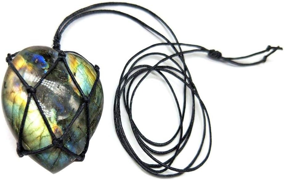 Joyas de piedra Collar de labradorita Colgante de piedra natural Envoltura Trenza Collar Yoga Macrame Collar Para Hombres Mujeres Collar de energía Collar vintage