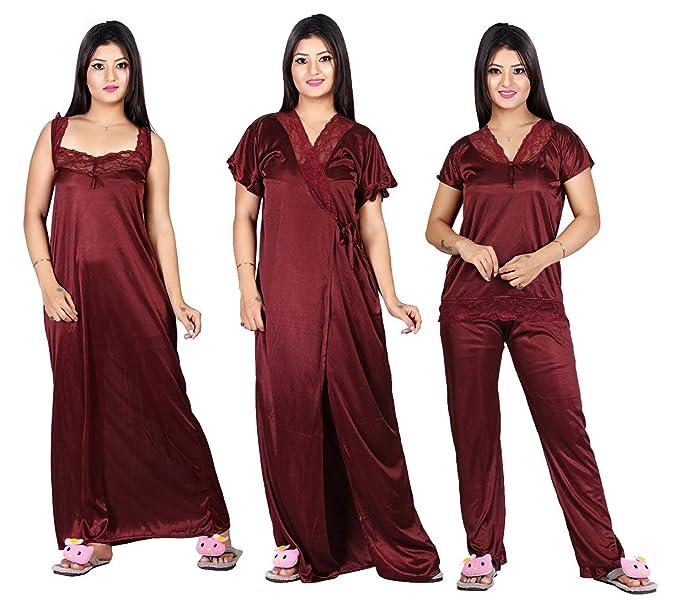 25361fb870 TRUNDZ Women's Satin Pack of 4 pc Night Dress (1 Nighty 1 Robe 1 Top ...
