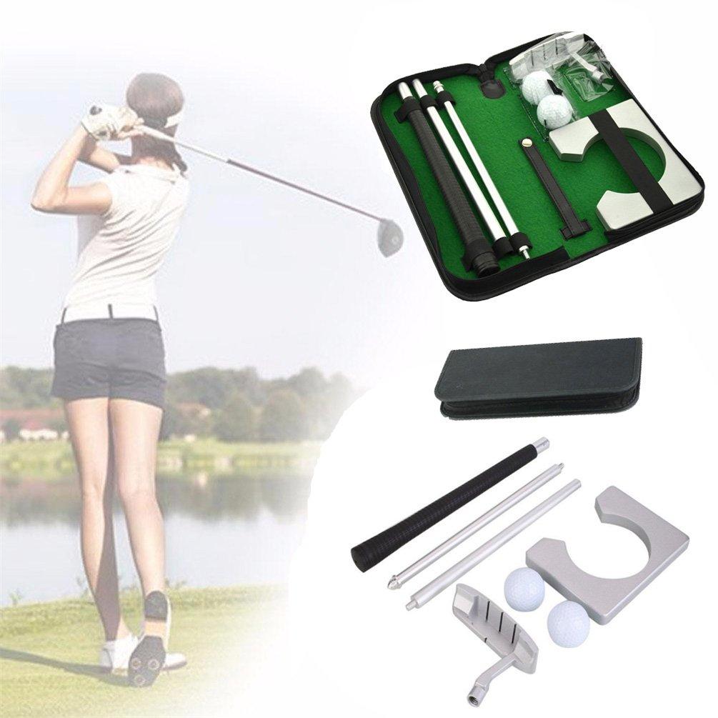 ポータブルゴルフPracticeeセットトラベルインドアGolfsボールホルダーパタートレーニング補助ツールwith Carryケースギフト  シルバー B0753FZZ2D