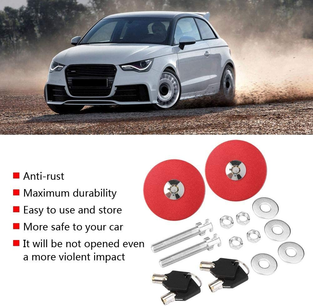 blue Acouto Engine Hood Cover Lock,Universal Aluminum Alloy Car Engine Hood Cover Lock Key Pin Kit Safety Latch Pin
