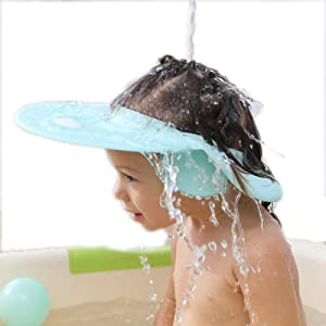 Baby Bath Shampoo Cap wash Shower Visor Adjustable Bathing tub Head Hair Rinser Shield hat Prevent Water Entering Eyes and Ears Protection Toddler Child Kids (Blue)