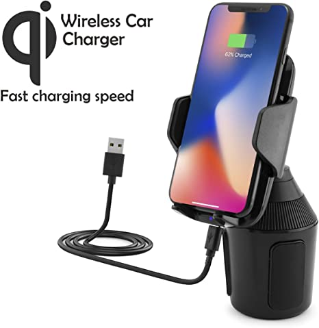 Universal Wireless car vehicle can holder with Qi charging function for Apple iPhone X, 8, 8 Plus Samsung Galaxy Note 8, S8, S8+, S7, S7 Edge LG
