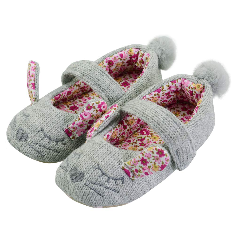 Toddler//Little Kid Non-Skid Rabbit Knitted House Slippers with Flower and Sweet-Heart