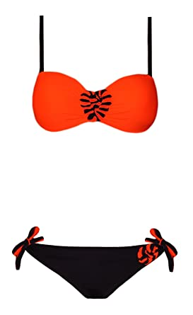b778af8312a Neon Orange and Black Flower Trim Underwired Strappy Bikini with 2 sets of  Briefs (10): Amazon.co.uk: Clothing
