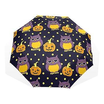 GUKENQ - Paraguas de Viaje, diseño de búhos y Calabazas para Halloween, Ligero,