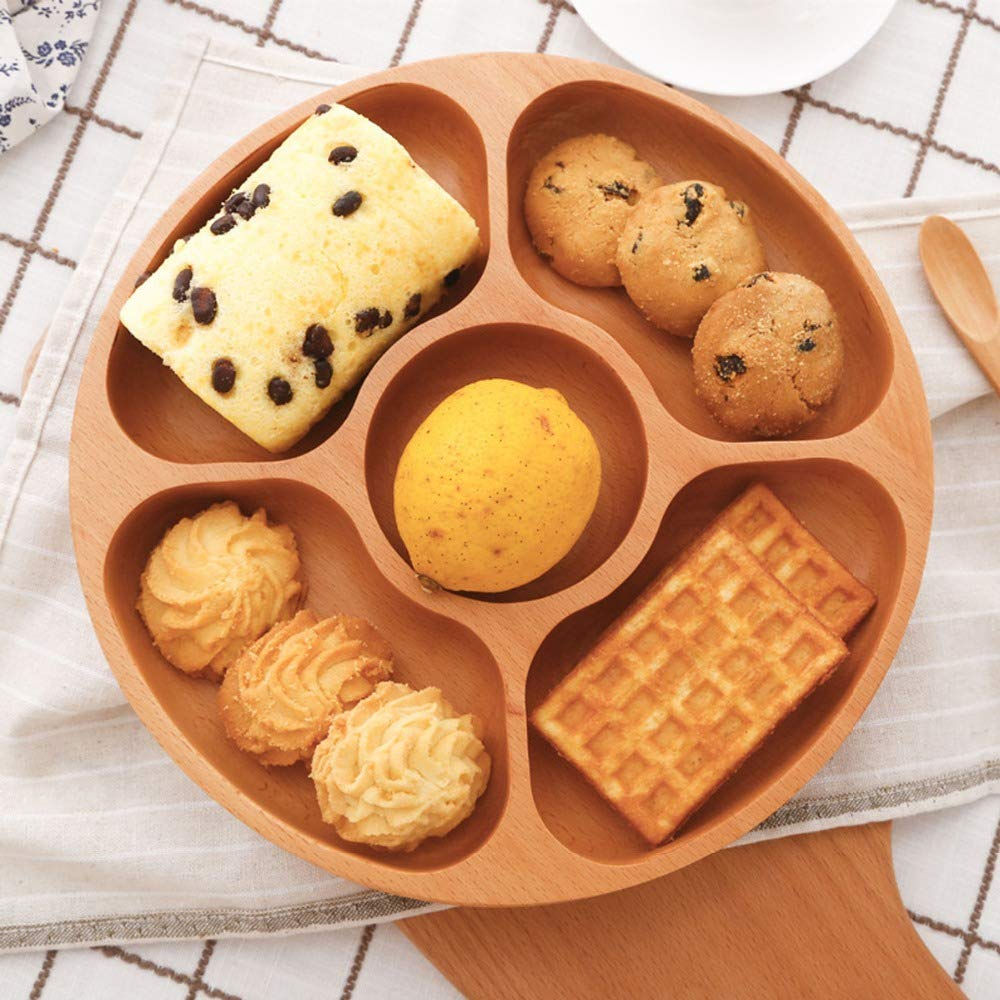 Best Wood Divided Serving Tray 11 inch Round Dessert Dish Sandwich Appetizer Salad Plates Vegetable Cheese Platter by Ren Handcraft (Image #1)