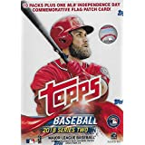 2018 Topps Baseball Series #2 Unopened Blaster Box with 10 Packs and One EXCLUSIVE Independence Day Commemorative Flag Patch Card and Possible Shohei Otani Rookies