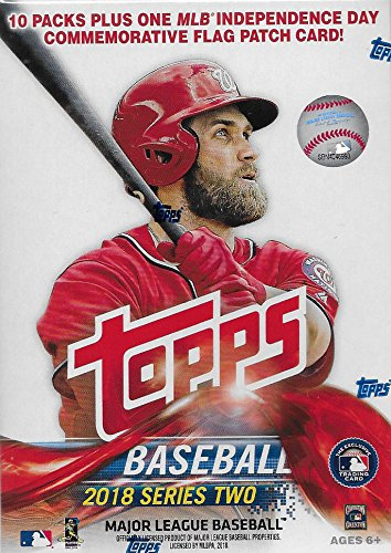 2018 Topps Baseball Series #2 Unopened Blaster Box with 10 Packs and One EXCLUSIVE Independence Day Commemorative Flag Patch Card and Possible Shohei Otani -