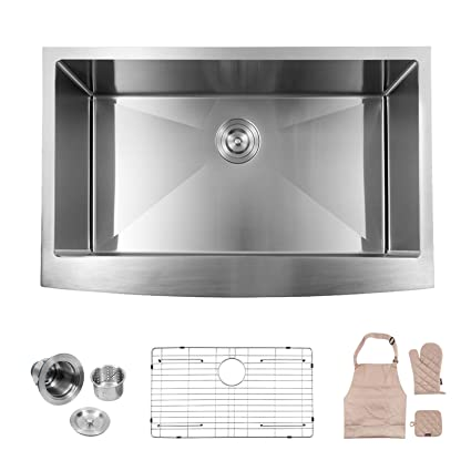 lordear apron front kitchen sink 33 inch 16 gauge single bowl drop rh amazon com polished nickel kitchen sink brushed nickel kitchen sink strainer