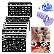 Lookathot 3/12/24/30 Nail Art Image Stamp Stamping Plates with 1 Stamper, 1 Scraper