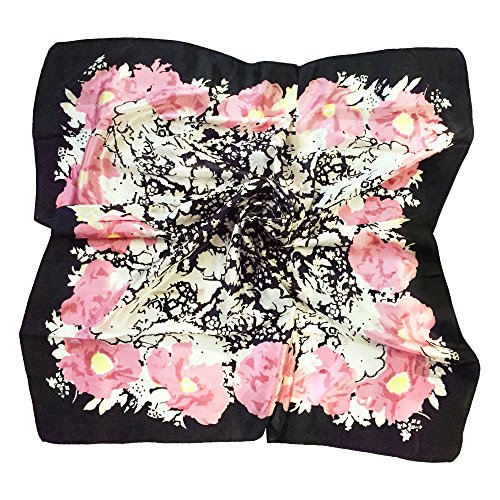 - TONY & CANDICE Women's Graphic Print 100% Silk, Silk Scarf Square, 33X33 Inches (New White Pink Flowers)