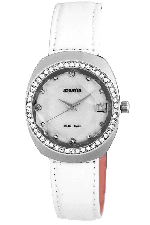 Jowissaレディースj4.105.l ComoステンレススチールWhite本革日付腕時計 B00AHKFRA6