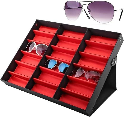 Salmue - 18 rejillas para gafas de sol, caja de almacenamiento, gafas, organizador de joyas, gafas de sol, colección de joyas: Amazon.es: Hogar
