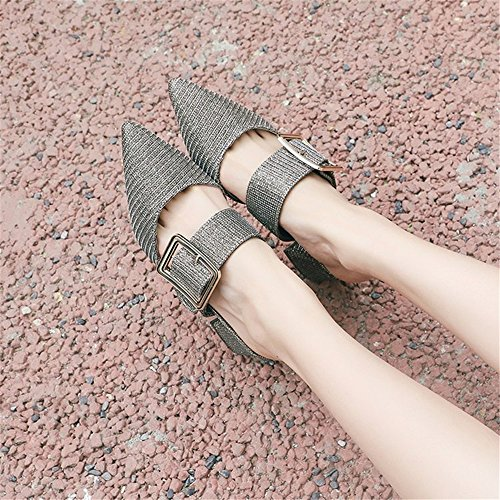 Plus Woman Women Size Slippers Pointed Slip Gold Shoes Mules Toe Shoes on Slides MOREMOO PdgBUqg