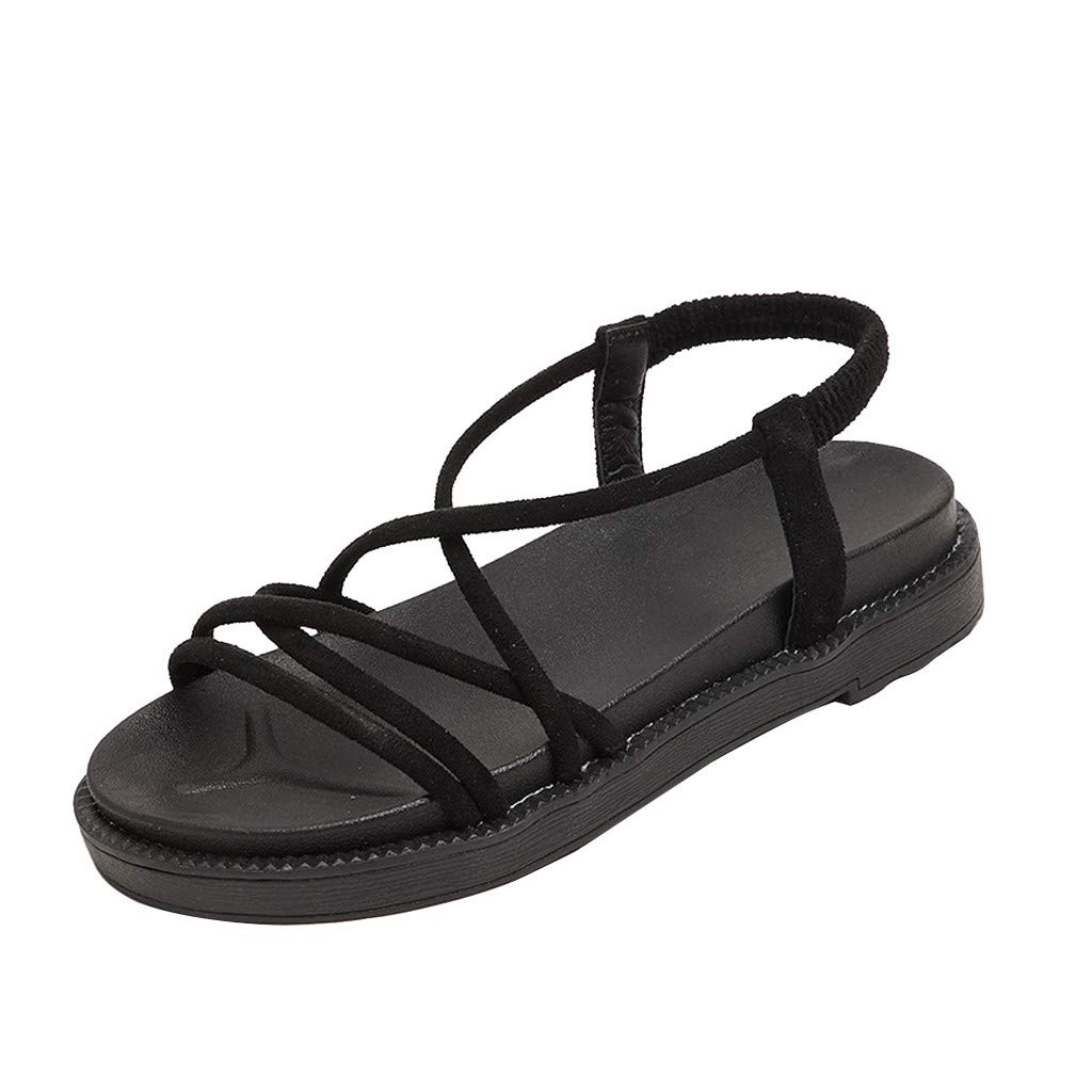 Benficial Women's Summer Casual Fashion Roman Strap Comfort Beach Sandals Slippers Shoes 2019 Summer Black by Benficial