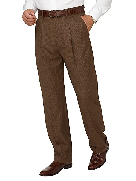1940s Mens Clothing Paul Fredrick Mens Super 110s Wool Cashmere Plaid Pleated Pants $99.95 AT vintagedancer.com