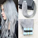 "HairDancing HairDancing 16"" 20Pcs 50g Per Set Color Silver Grey Tape In Human Hair Extensions Straight Tape Hair Extensions Remy Hair PU Hair Extensions"