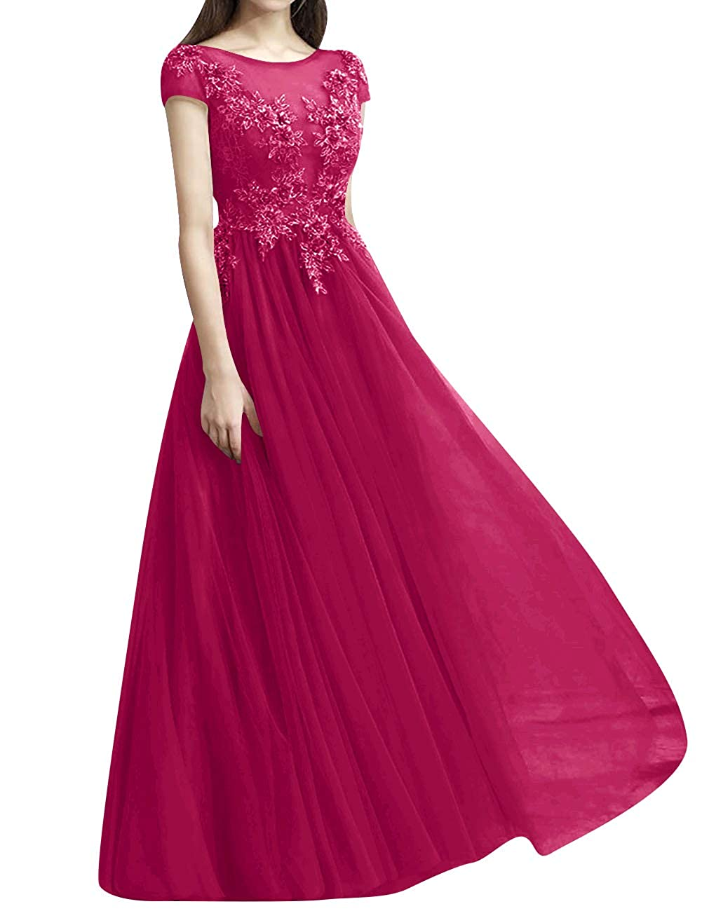 Hot Pink ASBridal Prom Dresses Long Evening Dress Short Sleeve Tulle Prom Evening Gowns Formal Party Dress