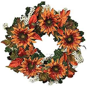 "Flora Decor Autumn Green Apple Sunflower Wreath -24"" 9"