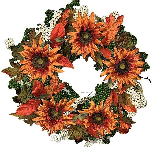 Flora Decor Autumn Green Apple Sunflower Wreath -24