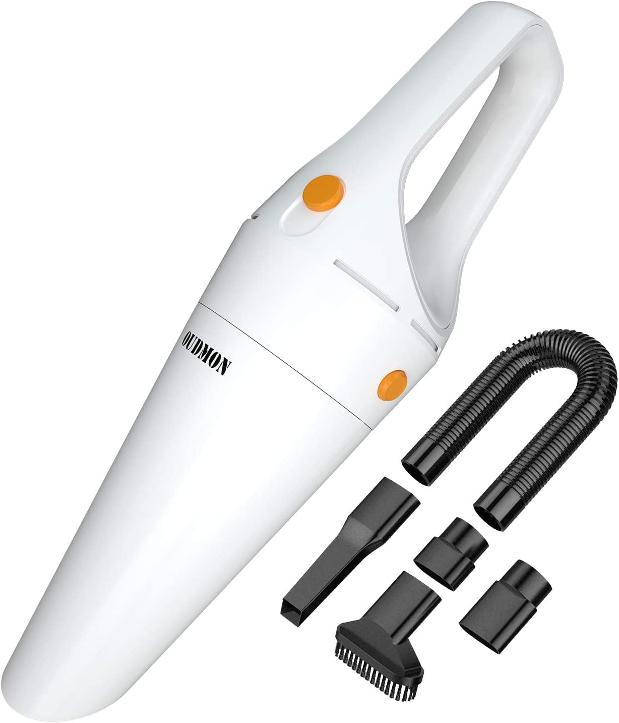 Handheld Vacuum Cordless, OUDMON Rechargeable Portable Vacuum Hand Cleaner, 120W 6000PA High Power Suction Wet&Dry Hand Held Vac for Home, Pet Hair, Dust, Car Cleaning White