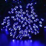 lederTEK energia solare impermeabile leggiadramente luci stringa di 22m 200 LED 8 modi di Natale lampada decorativa per all'aperto, giardino, casa, Matrimonio, Albero di Natale Capodanno Party (200 LED Blu)