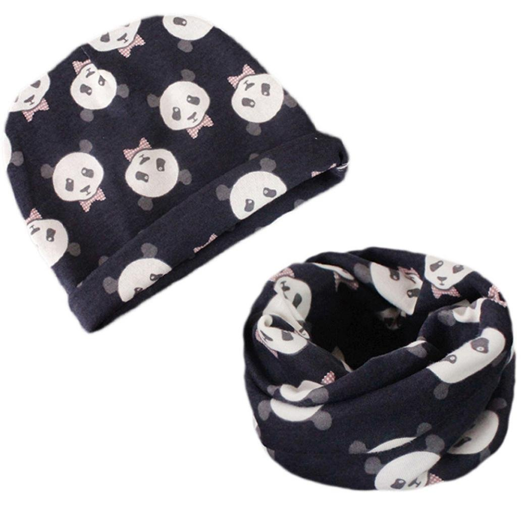 Suit for 0-6 Years old Kids,DIGOOD Girls Boys Autumn Cotton Warm Priint Hat+O Ring Scarf Sets