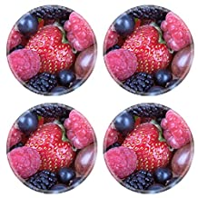Liili Natural Rubber Round Coasters IMAGE ID: 22705564 different fresh berries as a background