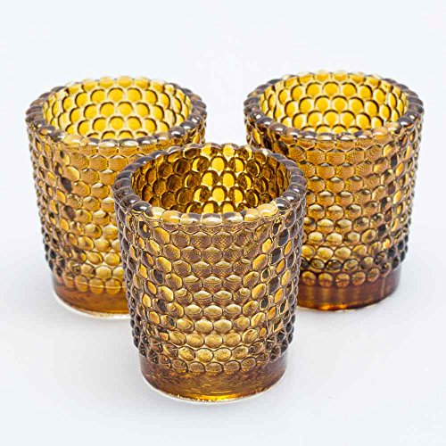 (Richland Votive Candle Holders Hobnail Amber Set of 12)
