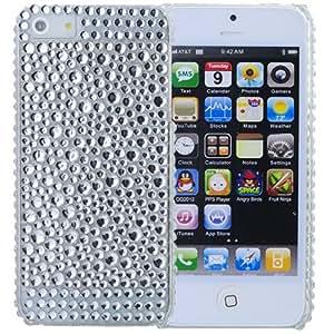 Rhinestone delicado completa cubierta protectora de plástico duro de nuevo caso para el iPhone 5 - plateado