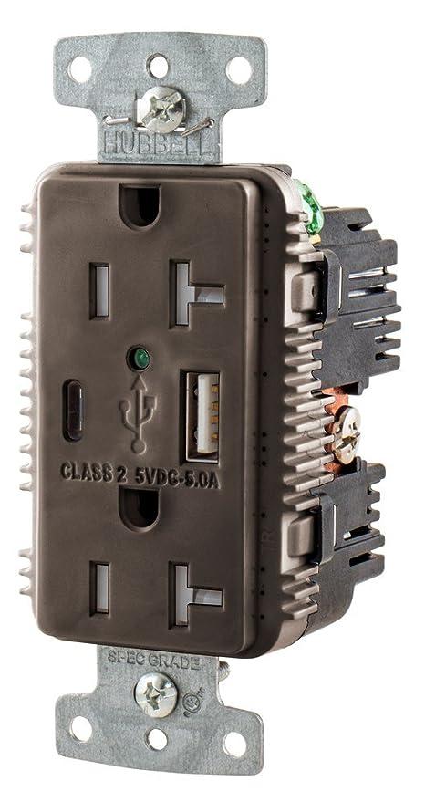 hubbell usb20ac5 20 amp 125v usb charging receptacles brown rh amazon ca